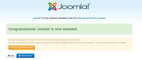 joomla Finish Installation - Remove Installation Folder