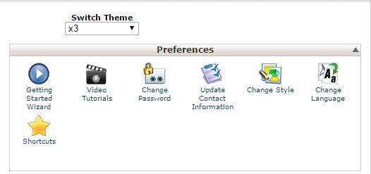 Group Menu Preferences cPanel